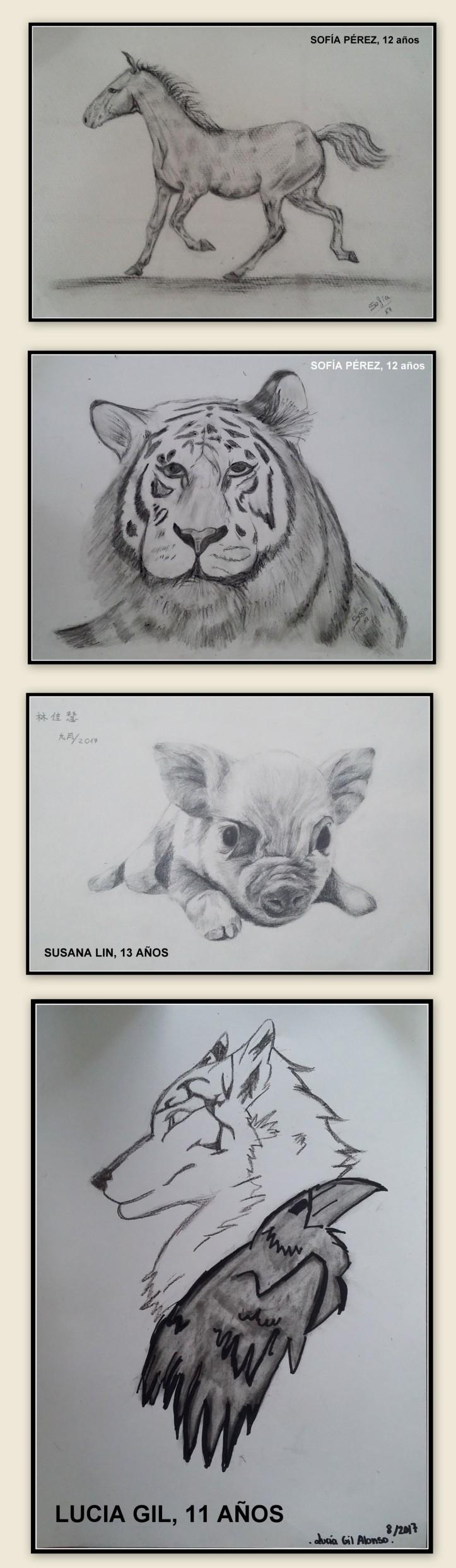 dibujos de animales a lapiz y carboncillo academia de pintura para niños torrejon de ardoz