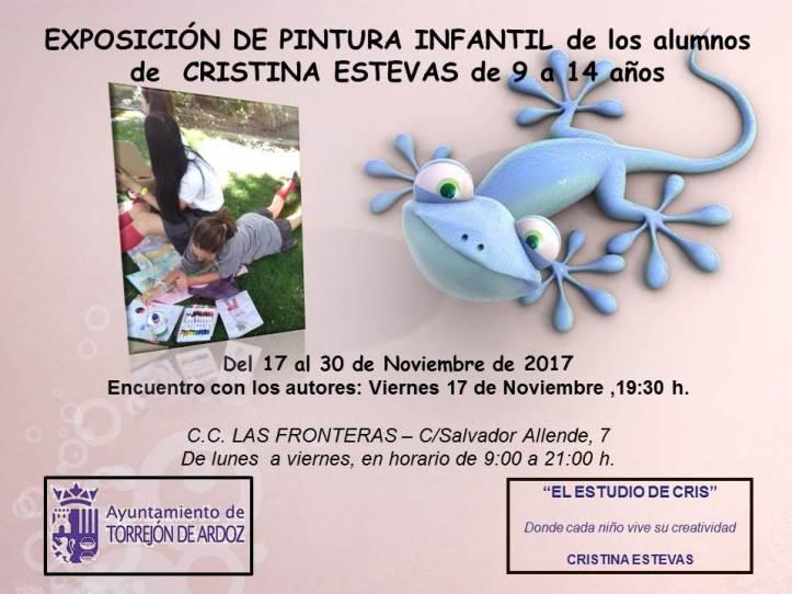 CARTEL EXPOSICION PINTURA INFANTIL C.C. LAS FRONTERAS 9-14 AÑOS