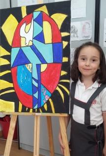 Felicitacion religiosa navidad pintada por niños 3