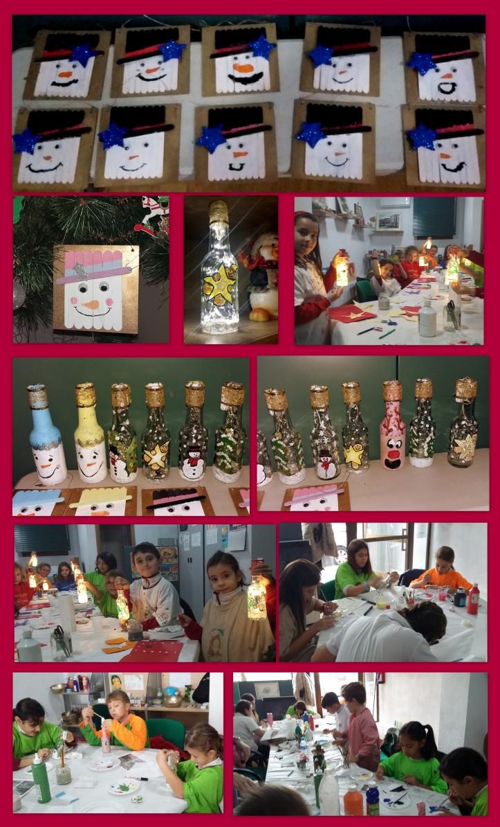 Taller navideño manualidadades botellas pintadas con luz y colgantes palos helados torrejon ardoz