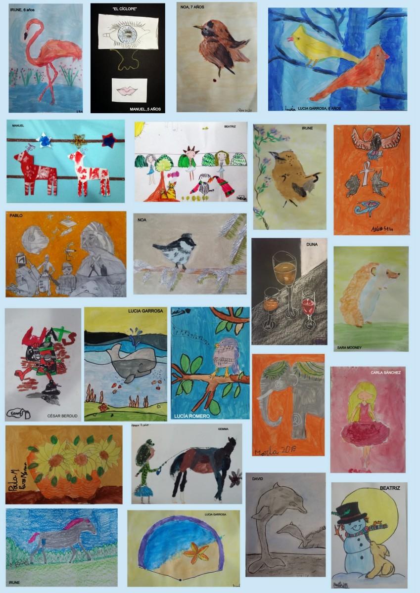 Mis artistas de 5 a 7 años nos desean feliz fin de semana con estas maravillosas obras