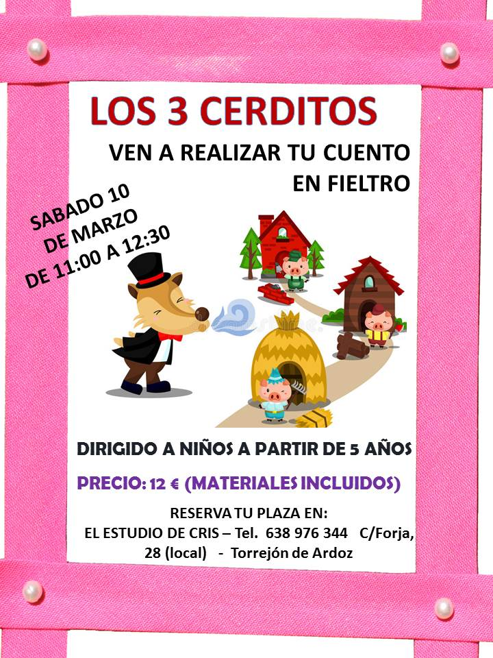 TALLER para hacer cuentos en fieltro los 3 cerditos Torrejon de Ardoz