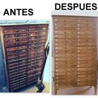 RESTAURACIÓN DE UN MUEBLE ANTIGUO DE LINOTIPIA (IMPRENTA) PASO A PASO