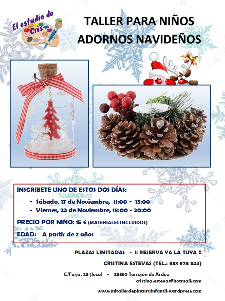 Taller adornos de navidad para niños 2018 A PARTIR DE 14 AÑOS