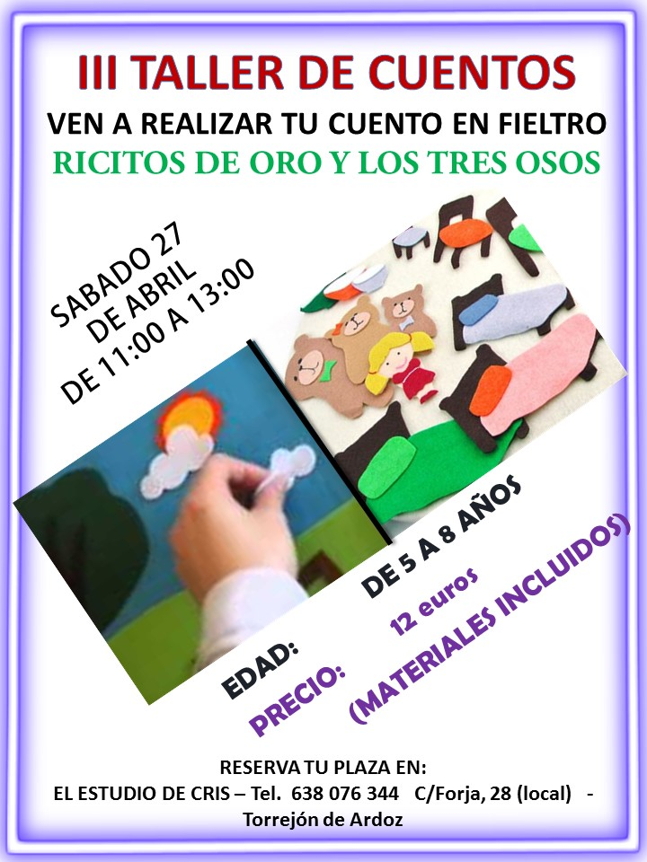TALLER para hacer cuentos en fieltro los 3 OSITOS Y RICITOS DE ORO Torrejon de Ardoz