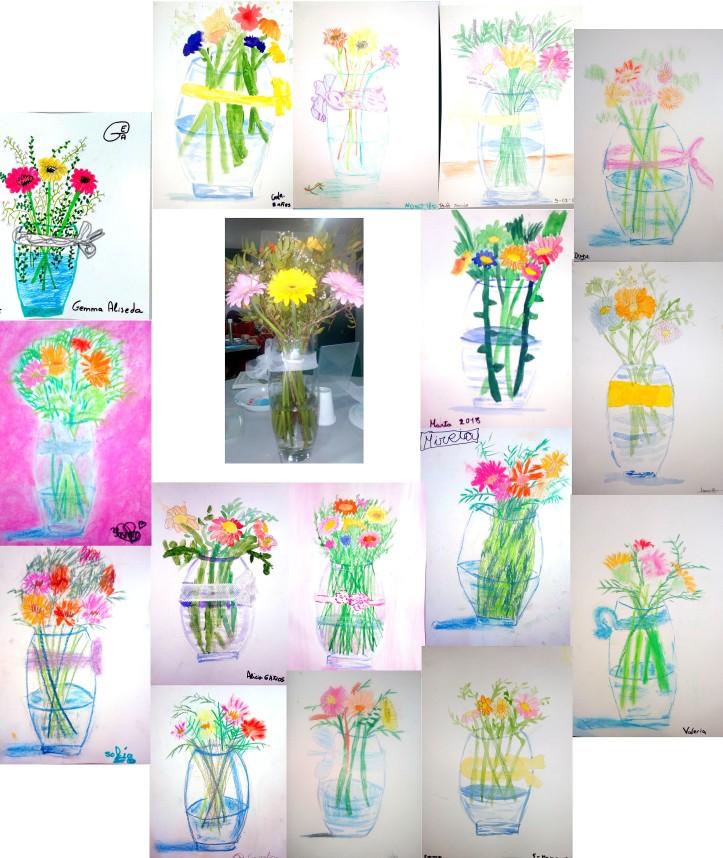 pintando bodegon de flores natural